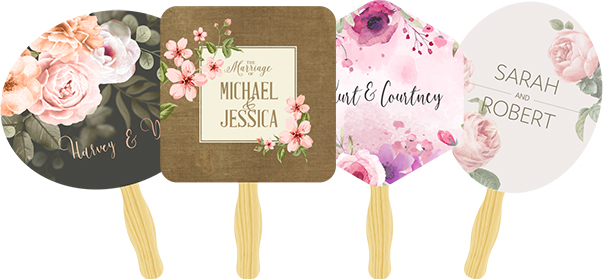 Four Wedding Print Hand Fans